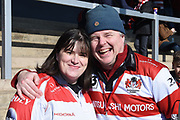 Gloucester Rugby fans during the Aviva Premiership match between Gloucester Rugby and Wasps at the Kingsholm Stadium, Gloucester, United Kingdom on 24 February 2018. Picture by Alan Franklin.