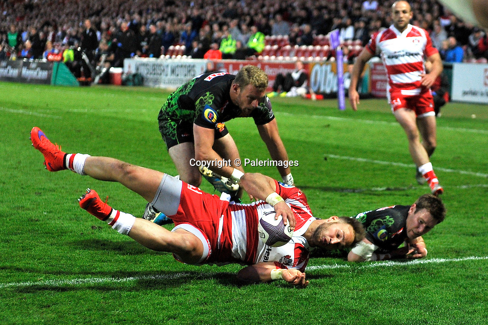 Gloucester, England. Bill Meakes of Gloucester Rugby over for a try during the European Rugby Challenge Cup semi-final match between Gloucester Rugby vs Exeter Chiefs at Kingsholm Stadium on April 18, 2015 in Gloucester, England. Photo Michael Paler/ Photosport.co.nz