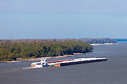 Mississippi River Barge working as bulk carrier transporting cargo at Natchez, USA