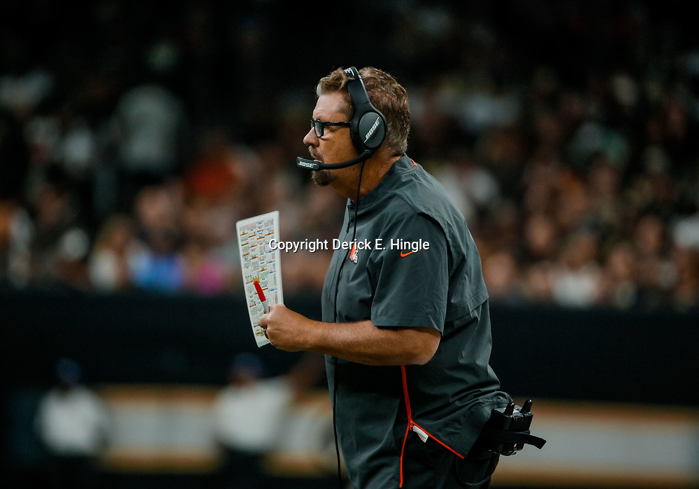 Sep 16, 2018; New Orleans, LA, USA; Cleveland Browns defensive coordinator Gregg Williams during the fourth quarter of a game against the New Orleans Saints at the Mercedes-Benz Superdome. The Saints defeated the Browns 21-18. Mandatory Credit: Derick E. Hingle-USA TODAY Sports
