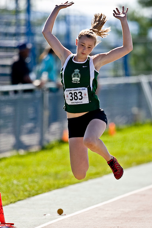 (Sherbrooke, Quebec---10 August 2008) Kaitlyn Sobey competing in the youth girls long jump at the 2008 Canadian National Youth and Royal Canadian Legion Track and Field Championships in Sherbrooke, Quebec. The photograph is copyright Sean Burges/Mundo Sport Images, 2008. More information can be found at www.msievents.com.