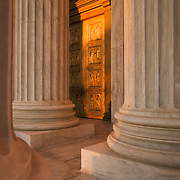 Golden doors and columns of the United States Supreme Court building, Washington DC, USA<br />
