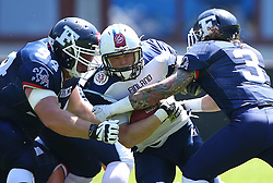 07.06.2014, Ernst Happel Stadion, Wien, AUT, American Football Europameisterschaft 2014, Spiel um Platz 3, Frankreich (FRA) vs Finnland (FIN), im Bild Max  Binand , (Team France, DL , #94),  Veikka Lehtonen, (Team Finland, RB, #12) und  Arnaud  Vidaller , (Team France, DB , #3) // during the American Football European Championship 2014 game for place 3 between France and Finland at the Ernst Happel Stadion, Vienna, Austria on 2014/06/07. EXPA Pictures © 2014, PhotoCredit: EXPA/ Thomas Haumer