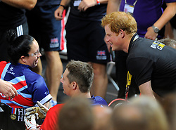 Prince Harry congratulates the British team on their semi final win over Australia - Photo mandatory by-line: Joe Meredith/JMP - Mobile: 07966 386802 - 12/09/2014 - The Invictus Games - Day 2 - Wheelchair Rugby - London - Copper Box Arena