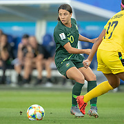 GRENOBLE, FRANCE June 18.  Sam Kerr #20 of Australia defends by Allyson Swaby #17 of Jamaica during the Jamaica V Australia, Group C match at the FIFA Women's World Cup at Stade des Alpes on June 18th 2019 in Grenoble, France. (Photo by Tim Clayton/Corbis via Getty Images)