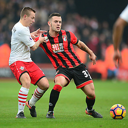 Jack Wilshere of Bournemouth shields the ball from Jordy Clasie of Southampton - Mandatory by-line: Alex James/JMP - 18/12/2016 - FOOTBALL - Vitality Stadium - Bournemouth, England - Bournemouth v Southampton - Premier League