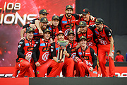 17th February 2019, Marvel Stadium, Melbourne, Australia; Australian Big Bash Cricket League Final, Melbourne Renegades versus Melbourne Stars; Melbourne Renegades players celebrate winning the BBL 08 competition