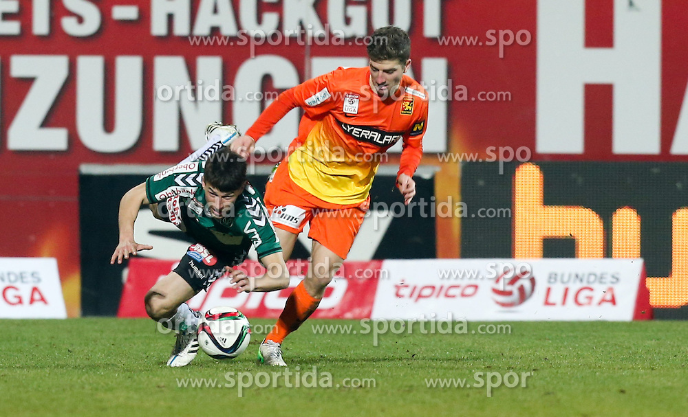 28.02.2015, Keine Sorgen Arena, Ried, AUT, 1. FBL, SV Josko Ried vs FC Admira Wacker Mödling, 22. Runde, im Bild Stefan Lainer, (SV Josko Ried) und Stephan Auer, (FC Admira Wacker Mödling) // during Austrian Football Bundesliga Match, 22nd round, between SV Josko Ried and FC Admira Wacker Mödling at the Keine Sorgen Arena, Ried, Austria on 2015/02/28. EXPA Pictures © 2015, PhotoCredit: EXPA/ Roland Hackl