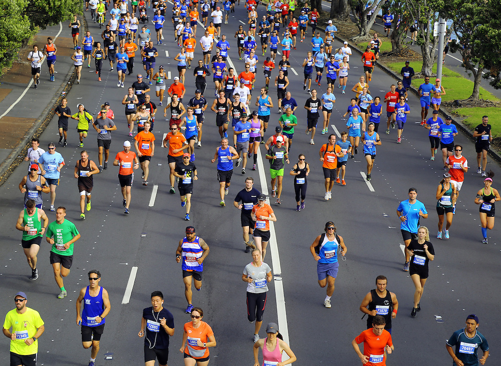 30,000 registered runners have taken part in the annual Ports of Auckland Round the Bays, one of the world's largest fun-runs along Tamaki Drive from Quay Street to St Heliers Bay, Auckland, New Zealand, Sunday, March 06, 2016. Credit:SNPA / Hayden Woodward