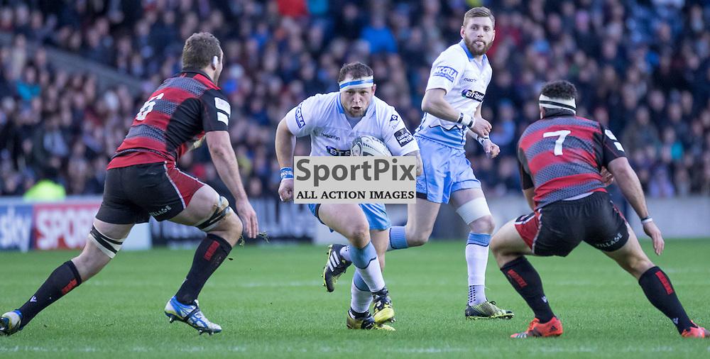 Glasgow #1. Ryan Grant on the charge. Edinburgh Rugby v Glasgow Warriors, 27th December 2015