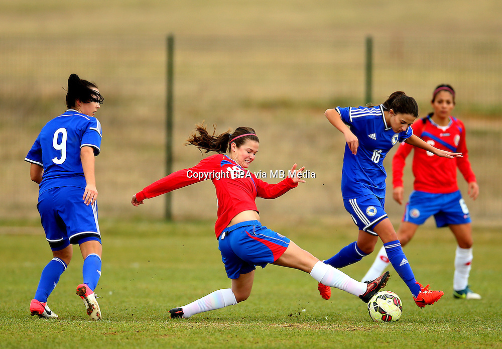 Fifa Womans World Cup Canada 2015 - Preview //<br /> Istria Cup 2015 Tournament ( Stella Maris Stadium , Umag - Croatia ) - <br /> Costarica vs Bosnia &amp; Herzegovina 1-0  , <br /> Fabiola Sanchez of Costarica (Left) ,  Challenges with Alisa Spahic of Bosnia &amp; Herzegovina (Right)