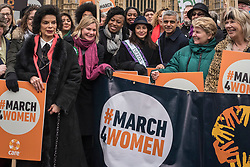 © Licensed to London News Pictures. 04/03/2018. LONDON, UK.  Bianca Jagger, activist, Justine Greening, MP, Natalie Imbruglia, singer, Sadiq Khan, Mayor of London and Sandi Toksvig, TV presenter, join the march. Hundreds of men and women take part in the annual #March4Women campaigning for gender equality.  The walk through central London from Millbank to Trafalgar Square retraces the steps of Suffragette's ahead of International Women's Day on 8 March.  Photo credit: Stephen Chung/LNP