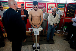 Stjepan Bozic of Croatia at official weighing before box fighting, on April 8, 2010, in Avto Delta, Ljubljana, Slovenia.  (Photo by Vid Ponikvar / Sportida)