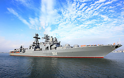 ZHANJIANG, Sept. 12, 2016 (Xinhua) -- A Russian navy ship arrives at a port in Zhanjiang, south China's Guangdong Province, Sept. 12, 2016. A Russian fleet arrived in Zhanjiang on Monday, with Chinese naval forces gathering for a joint drill. The ''Joint Sea 2016'' drill will go ahead between September 12 and 19 in the South China Sea, off Guangdong. (Xinhua/Zha Chunming) (zhs) (Credit Image: © Zha Chunming/Xinhua via ZUMA Wire)