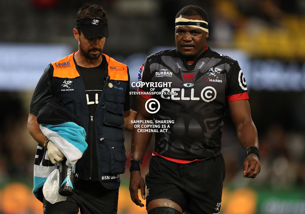 DURBAN, SOUTH AFRICA - MAY 27: DR Alan Kourie of the Cell C Sharks with Chiliboy Ralepelle of the Cell C Sharks during the Super Rugby match between Cell C Sharks and DHL Stormers at Growthpoint Kings Park on May 27, 2017 in Durban, South Africa. (Photo by Steve Haag/Gallo Images)