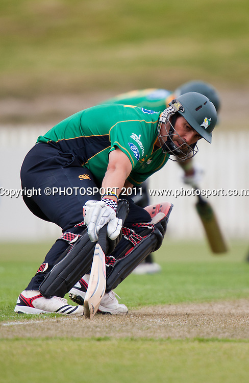 Stags' Mathew Sinclair bats during the Ford Trophy Cricket - Northern Knights v Central Stags one day match, at Seddon Park, Hamilton, New Zealand, 11 December 2011. Photo: Stephen Barker/photosport.co.nz