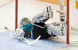 April 16, 2010; San Jose, CA, USA; San Jose Sharks goaltender Evgeni Nabokov (20) gives up a goal to the Colorado Avalanche during the second period of game two in the first round of the 2010 Stanley Cup Playoffs at HP Pavilion.  The Sharks defeated the Avalanche 6-5 in overtime. Mandatory Credit: Jason O. Watson / US PRESSWIRE