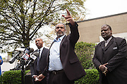 BIRMINGHAM, AL – APRIL 3, 2015: Anthony Ray Hinton (center) is released from prison after 30 years on death row. Hinton was convicted of two murders in 1985 at age 29, but has always maintained his innocence. CREDIT: Bob Miller for The New York Times