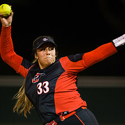 02 March 2018: San Diego State softball closes out day two of the San Diego Classic I at Aztec Softball Stadium with a night cap against CSU Northridge. San Diego State starting pitcher Marissa Moreno (33) seen here in the top of the third inning against CSU Northridge. The Aztecs dropped a close game 2-0 to the Matadors. <br /> More game action at sdsuaztecphotos.com
