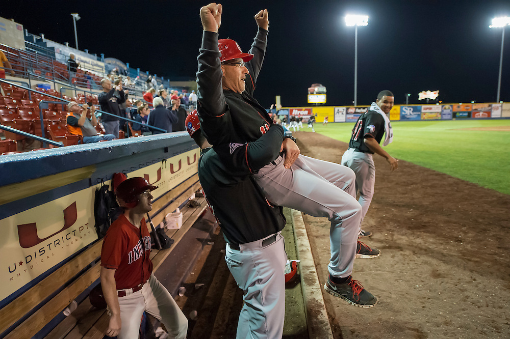 The Vancouver Canadians batting coach, Dave Pano, gets hoisted in the air by manager John Schneider to celebrate their win vs. the Spokane Indians in game two of the North West League divisional play-offs.  Vancouver won 5-4 to win the series.