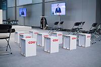 DEU, Deutschland, Germany, Leipzig, 22.11.2019: Sitzmöbel mit dem Logo der CDU beim Bundesparteitag der CDU in der Messe Leipzig.