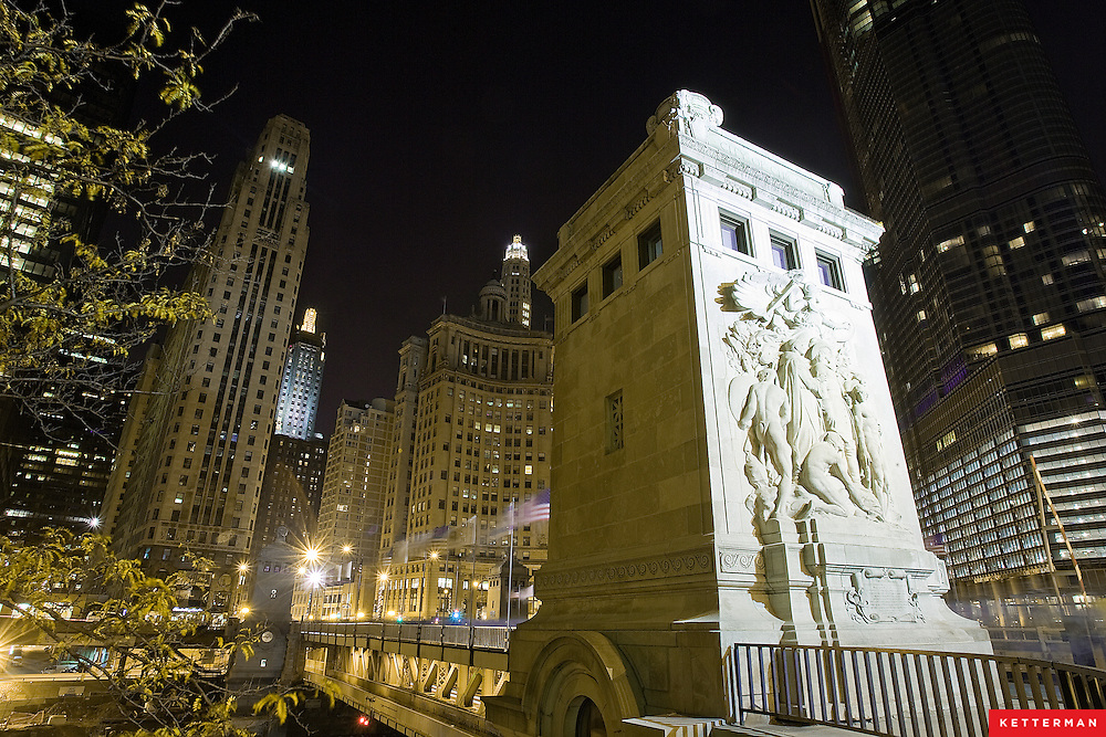 Michigan Avenue in downtown Chicago at night.