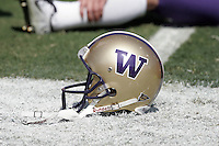 7 October 2006: Player helmet with W in purple and gold. NCAA College Football Pac-10 USC Trojans 26-6 win over the Washington Huskies at the LA Coliseum during a sunny saturday game in Los Angeles, CA.<br />