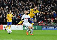 Football - 2017 / 2018 UEFA Champions League - Round of Sixteen, Second Leg: Tottenham Hotspur (2) vs. Juventus (2)<br /> <br /> Stefano Sturaro of Juventus shoots past Kieran Trippier, at Wembley Stadium.<br /> <br /> COLORSPORT/ANDREW COWIE