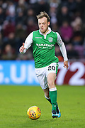 Brandon Barker (#20) of Hibernian on the ball during the William Hill Scottish Cup 4th round match between Heart of Midlothian and Hibernian at Tynecastle Stadium, Gorgie, Scotland on 21 January 2018. Photo by Craig Doyle.