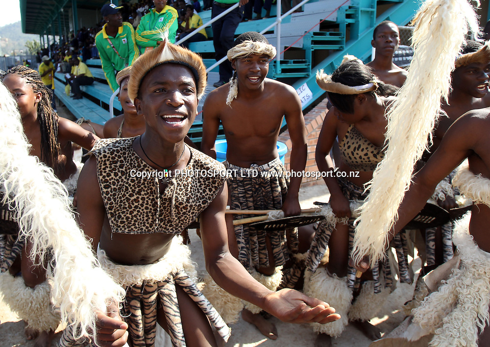 Zulu dancers.<br />New Zealand versus Chile.<br />International friendly warm up practice match. <br />Nelspruit. South Africa.<br />FiFA Football World Cup.<br />Wednesday 9 June 2010.<br />Photo: Andrew Cornaga/PHOTOSPORT