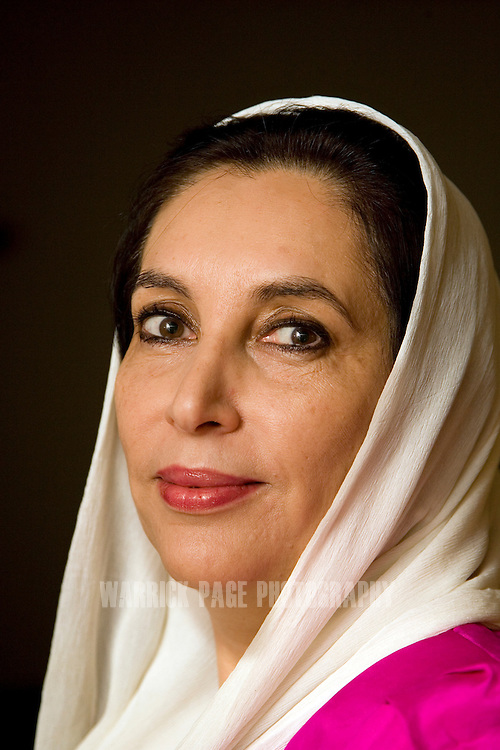 ISLAMABAD, PAKISTAN - NOVEMBER 29:  Former prime minister, Benazir Bhutto poses for a portrait in her home on November 29, 2007 in Islamabad Pakistan. Benazir Bhutto was assassinated by an unknown gunman/suicide bomber after a campaign rally on 27 December, 2007, in Rawalpindi, Pakistan. Twenty people were also killed in the subsequent explosion. Controversy still surrounds the cause of Bhutto's death and with those who committed the crime. Al-Qaeda commander Mustafa Abu al-Yazid claimed responsibility for the attack, while the Pakistani government linked Pakistan Taliban leader, Baitullah Mehsud, with the killings. Since her death, Pakistan has slipped further into crisis with attacked occurring on a daily basis as the Taliban taking over more land in northern Pakistan and continue their assault on government and military installations with relative impunity. (Photo by Warrick Page)