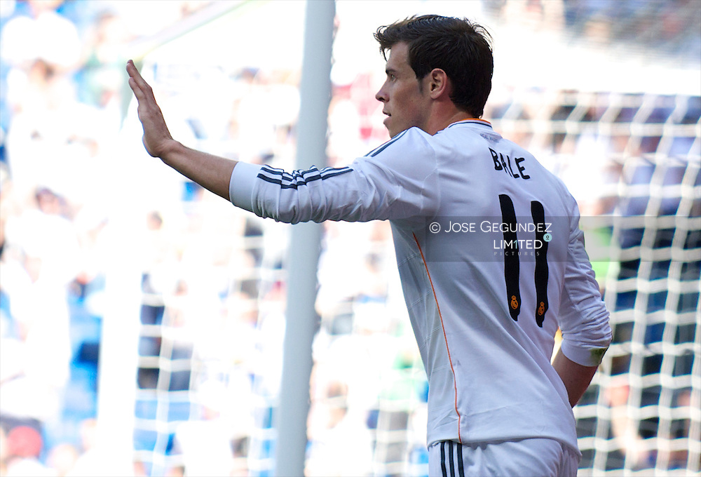 Gareth Bale celebrates his goal during Real Madrid v Espanol, La Liga football match at Santiago Bernabeu on May 17, 2014 in Madrid, Spain