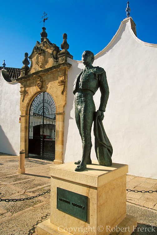 SPAIN, ANDALUSIA RONDA: beautiful 'pueblo blanco' and resort with one of Spain's earliest bullrings, and statues of famous bullfighters