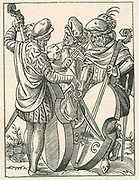 German musicians playing on stringed instruments of the violin family from a pocket violin, centre, to a  bass viol. Woodcut by Jost Amman (1535-1591).