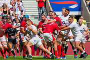 Twickenham, Surrey, World Cup, Sunday, Sunday, 11/08/2019  2019 World Cup, Warm up match, Quilter International, England vs Wales, at the RFU Stadium  [© Peter SPURRIER/Intersport Image]<br /> <br /> 14:46:45 Luke Cowan-Dickie of England, runs in for a try,