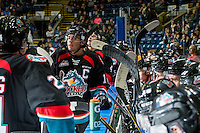 KELOWNA, CANADA - OCTOBER 26: Team Captain, Rodney Southam #17 of the Kelowna Rockets stands at the bench against the Victoria Royals on October 26, 2016 at Prospera Place in Kelowna, British Columbia, Canada.  (Photo by Marissa Baecker/Shoot the Breeze)  *** Local Caption ***