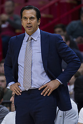 January 14, 2018 - Miami, FL, USA - Miami Heat head coach Erik Spoelstra reacts during the first quarter of a game against the Milwaukee Bucks on Sunday, Jan. 14, 2018 at the AmericanAirlines Arena in Miami, Fla. (Credit Image: © Matias J. Ocner/TNS via ZUMA Wire)