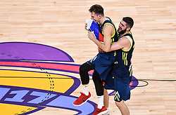 Luka Doncic of Slovenia and Ziga Dimec of Slovenia celebrate after winning during basketball match between National Teams of Slovenia and Spain at Day 15 in Semifinal of the FIBA EuroBasket 2017 at Sinan Erdem Dome in Istanbul, Turkey on September 14, 2017. Photo by Vid Ponikvar / Sportida