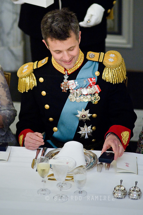 15.04.2015. Copenhagen, Denmark.Crown Prince Frederik during a Gala Dinner at Christiansborg Palace on the eve of The 75th Birthday of Queen Margrethe of Denmark.Photo:© Ricardo Ramirez