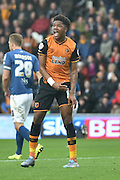 Hull City striker Chuba Akpom remonstrates at not being given a free kick after being brought down during the Sky Bet Championship match between Hull City and Birmingham City at the KC Stadium, Kingston upon Hull, England on 24 October 2015. Photo by Ian Lyall.