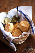 PHILADELPHIA, PA - August 9, 2015: Biscuits at Percy Street Barbecue on South Street. <br /> <br /> CREDIT: Clay Williams.<br /> <br /> © Clay Williams / claywilliamsphoto.com