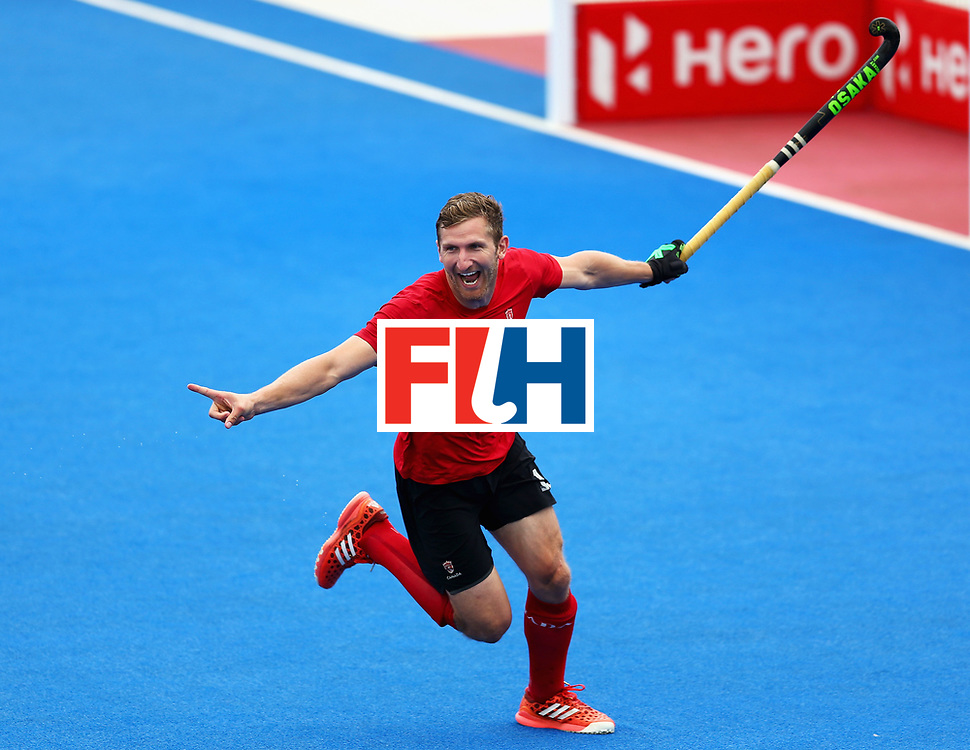 LONDON, ENGLAND - JUNE 24: Mark Pearson of Canada celebrates scoring his sides third goal during the 5th-8th place match between Canada and China on day eight of the Hero Hockey World League Semi-Final at Lee Valley Hockey and Tennis Centre on June 24, 2017 in London, England.  (Photo by Steve Bardens/Getty Images)