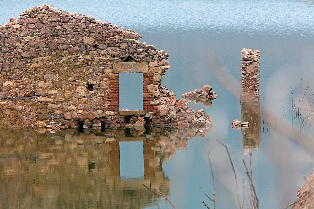 2008. Extreme drought in Catalonia. Visible ruins before covered by the water in the marsh of Boadella (Alt Emporda, Catalonia. Spain)  due to the lack of rain in the last months.