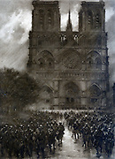 Modern men-at-arms : French infantry on furlough passing Notre Dame, Paris.