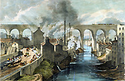 Train crossing Stockport viaduct on London & North Western Railway. Note pollution of river banks, smoking chimneys and complete domination of scene by railway viaduct. Pedestrian and horse traffic on left. Lithograph c1845