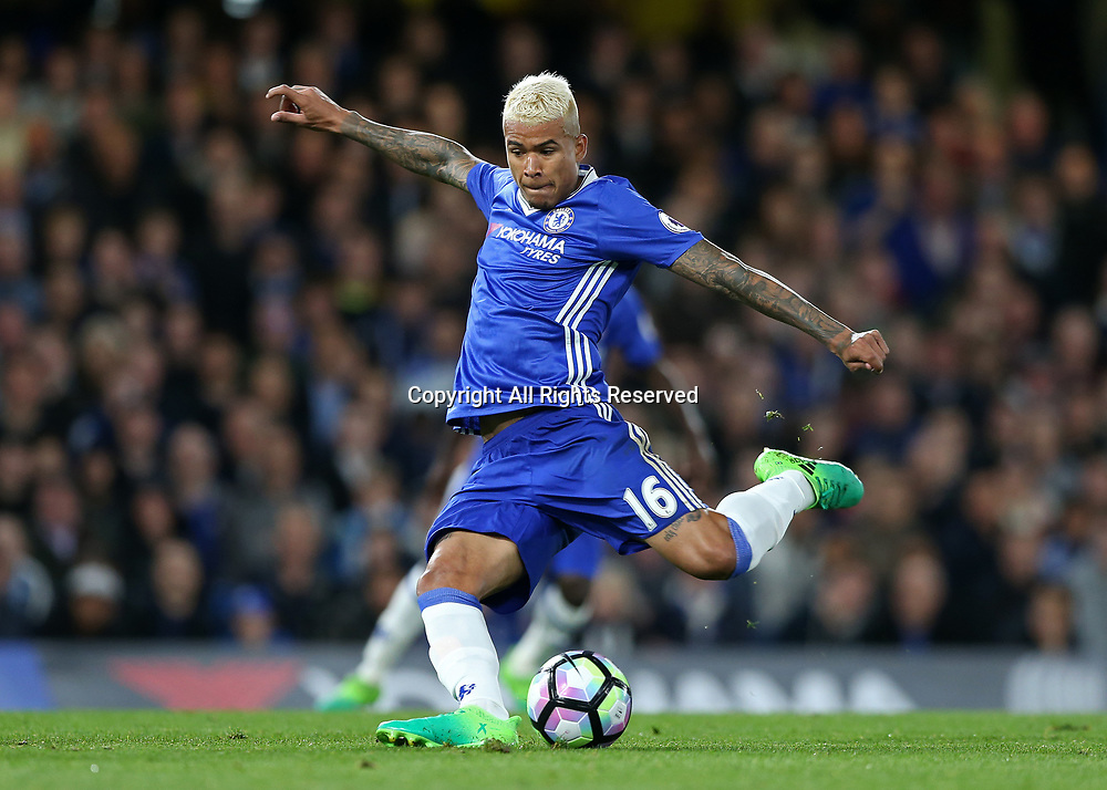 May 15th 2017, Stamford Bridge, London, England; EPL Premier League football, Chelsea FC versus Watford; Kenedy of Chelsea taking a shot
