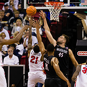 08 March 2018: San Diego State men's basketball takes on Fresno State in their first game of the Mountain West Conference Tournament. The Aztecs beat the Bulldogs 64-52 and will play Nevada tomorrow at the Thomas &amp; Mack Center in Las Vegas, Nevada. <br /> More game action at www.sdsuaztecphotos.com