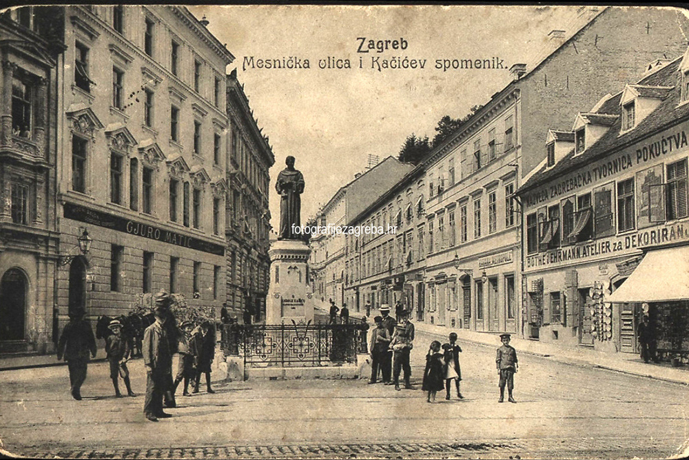 Zagreb : Mesnička ulica i Kačićev spomenik. <br /> <br /> Impresum[S. l. : S. n., 1907].<br /> Materijalni opis1 razglednica : tisak ; 9 x 13,9 cm.<br /> Vrstavizualna građa • razglednice<br /> ZbirkaGrafička zbirka NSK • Zbirka razglednica<br /> Formatimage/jpeg<br /> PredmetZagreb –– Mesnička ulica<br /> SignaturaRZG-MESN-5<br /> Obuhvat(vremenski)20. stoljeće<br /> NapomenaRazglednica je putovala 1907. godine. • Poleđina razglednice namijenjena je samo za adresu. • Spomenik fra Andriji Kačiću Miošiću, rad kipara Ivana Rendića, svečano je otkriven na početku Mesničke ulice, za trajanja Jubilarne gospodarske izložbe u Zagrebu 1891. g.<br /> PravaJavno dobro<br /> Identifikatori000954887<br /> NBN.HRNBN: urn:nbn:hr:238:232156 <br /> <br /> Izvor: Digitalne zbirke Nacionalne i sveučilišne knjižnice u Zagrebu