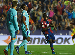 May 13, 2018 - Valencia, Valencia, Spain - Emmanuel Boateng of Levante UD celebrates a goal during the La Liga match between Levante and FC Barcelona, at Ciutat de Valencia Stadium, on may 13, 2018  (Credit Image: © Maria Jose Segovia/NurPhoto via ZUMA Press)