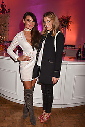 Left to right, Lizzie Cundy and Olivia Cox at Fashion Parade by Sadia Siddiqui dedicated to Asian couture held at One Marylebone, London England. 6 February 2017.